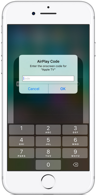 iPhone input menu asking for airplay code