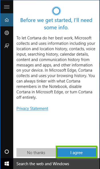 Windows 10 Cortana agreement