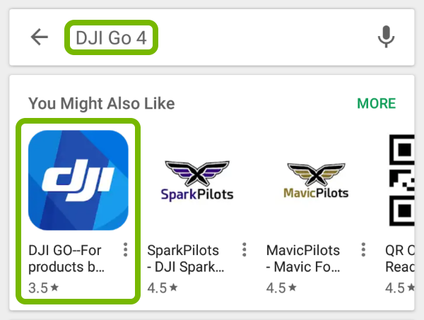 DJI GO 4 App found in Google Play store.