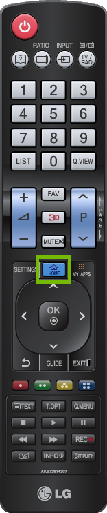 Older LG Remote with Home button highlighted.