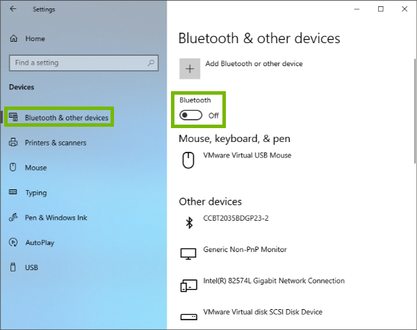 Bluetooth & other devices and the Bluetooth toggle highlighted