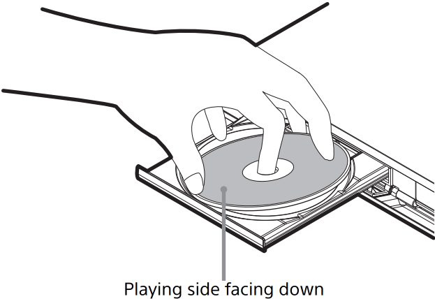 Disc being inserted in player.