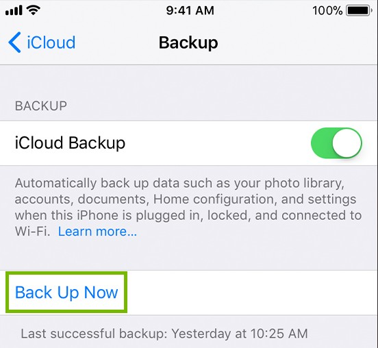 iOS icloud menu with back up now highlighted