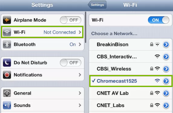 iOS device setttings screens, Wi-Fi and Chromecast highlighted