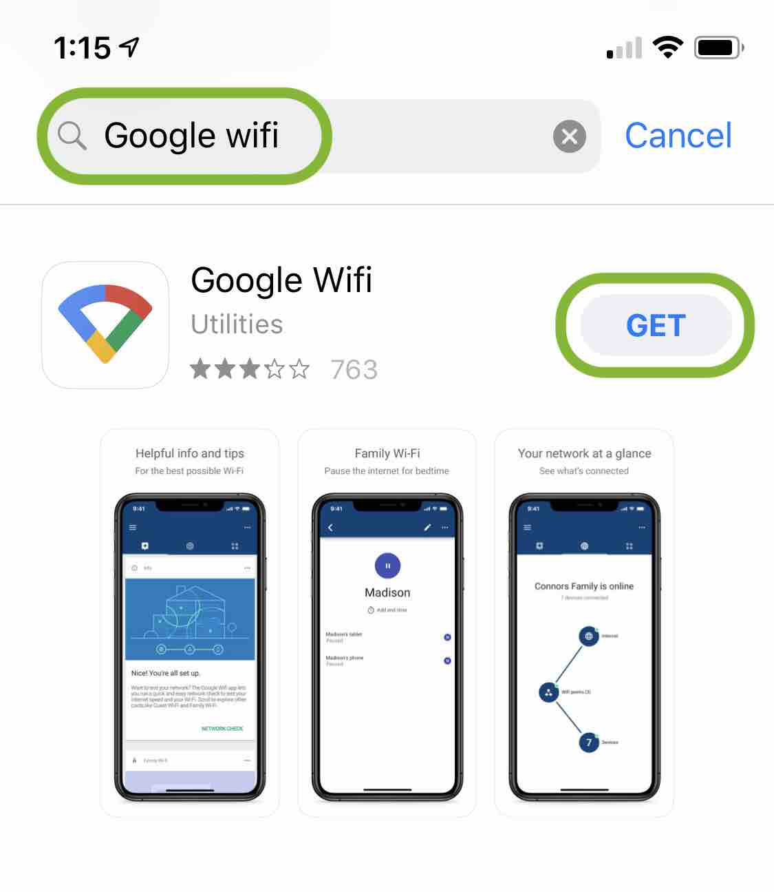 Install Google WiFi from App Store