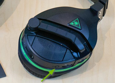 Pairing button pointed out on Turtle Beach Stealth headset.