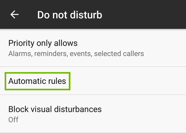 Do not disturb settings with Automatic rules highlighted.