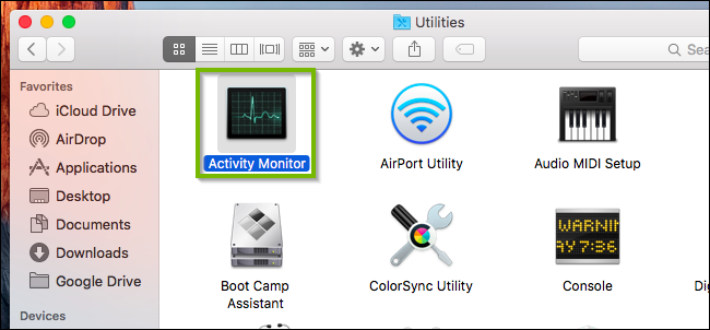 macOS utilities folder highlighting the activity monitor icon.