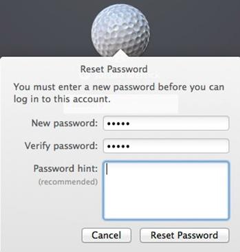 macOS reset password fields