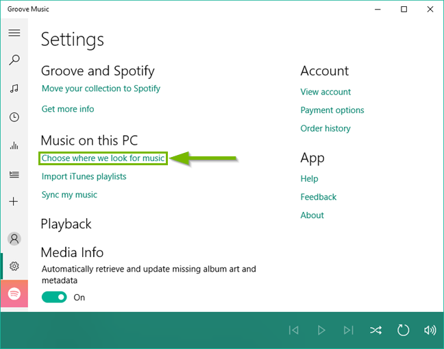 Groove music settings menu.