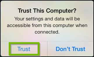 Trust this computer? Your settings and data will be accessible from this computer when connected. Trust selected. Screenshot.
