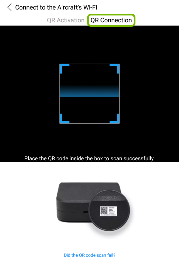 QR Connection highlighted in QR code scanner.