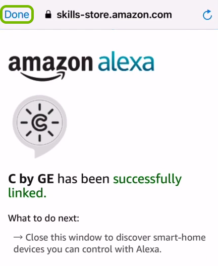 Done option highlighted on device linking screen in Alexa app.