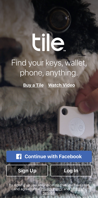 Tile app welcome screen. Screenshot.