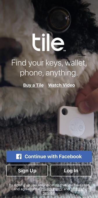 Tile app welcome screen. Screenshot.