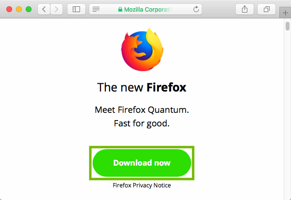 Firefox download page with Download now highlighted.
