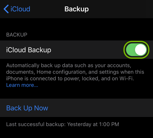 Toggle switch highlighted next to iCloud Backup feature in iOS settings.