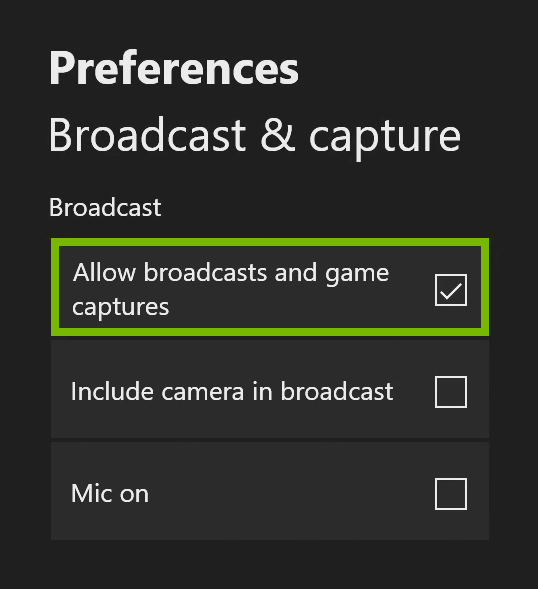 Allow broadcasts and game captures option highlighted in Xbox One settings.