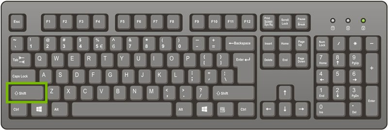 picture of a keyboard with shift highlighted
