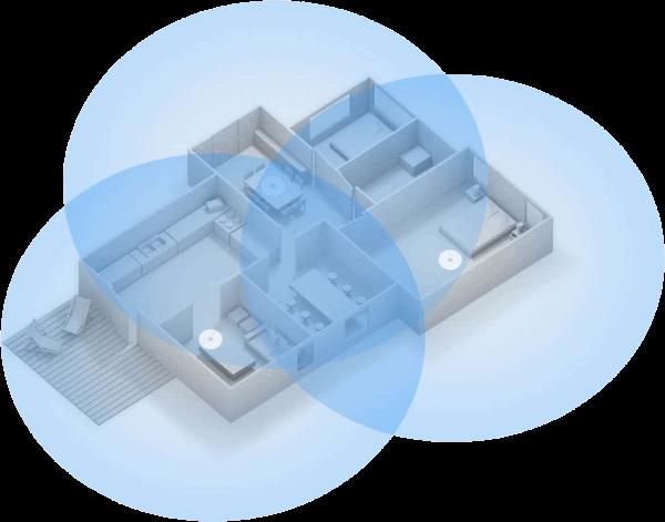 Mesh WiFi network diagram.