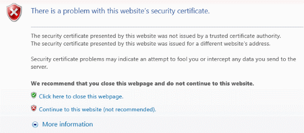Certificate error in internet explorer