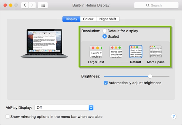 Screen resolution picker highlighted in macOS display settings.
