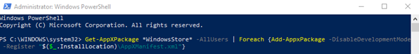 Windows 10 powershell command