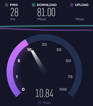 Speedtest website running a speedtest