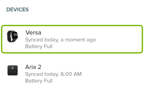 Versa highlighted in Account settings of Fitbit app.