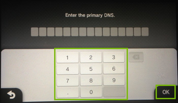 Number pad to enter DNS IPs