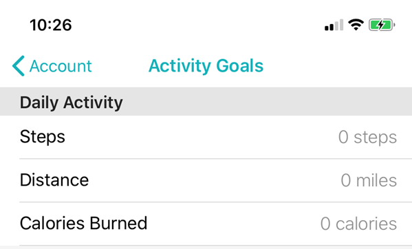 Activity goals page