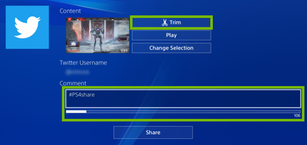 Trim button and Comment field highlighted in video clip sharing options on PlayStation 4.