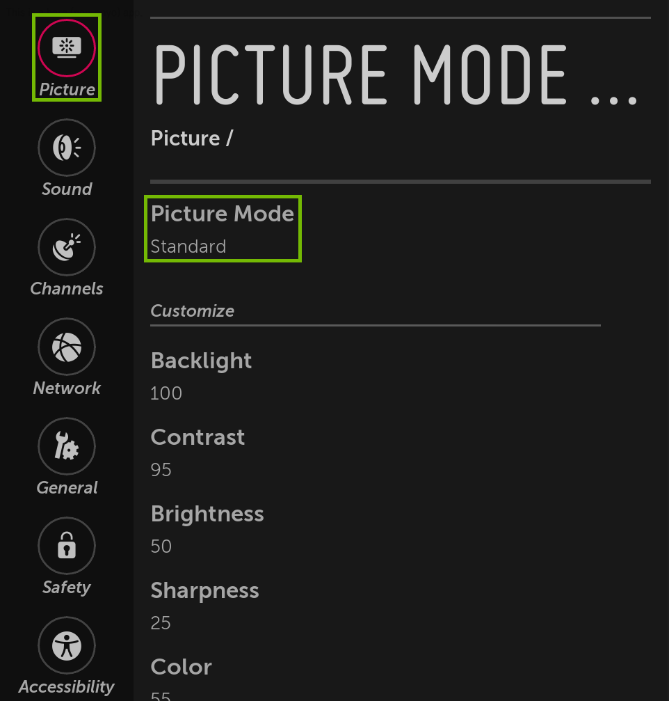 Picture menu with Picture Mode highlighted.