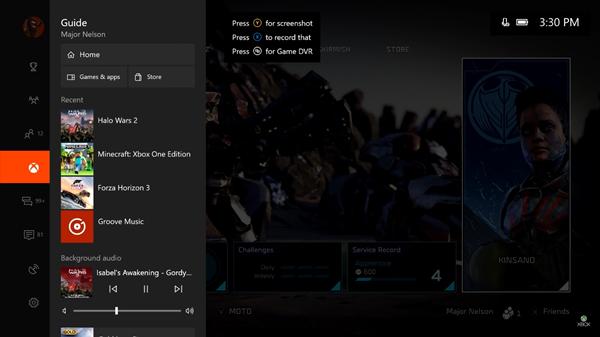Xbox One main menu