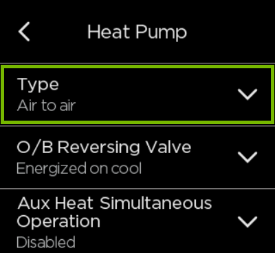 Type option highlighted in ecobee settings.