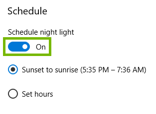 night light settings with schedule toggle highlighted