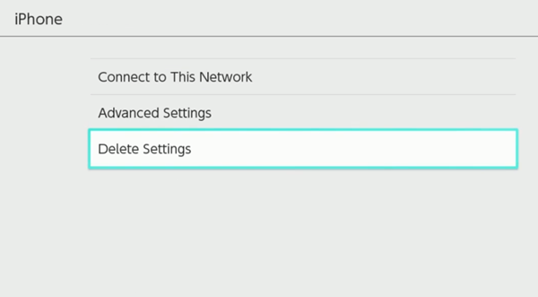 Nintendo Switch showing the deletion of internet settings