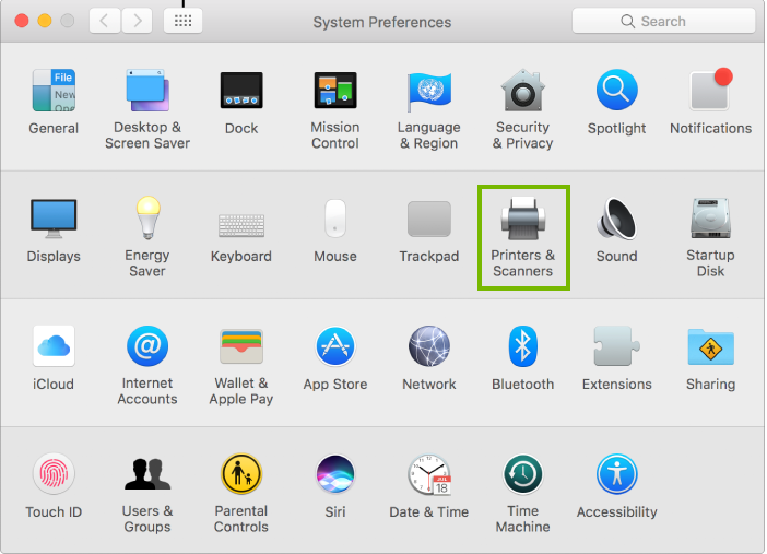Screenshot of the macOS system preferences window with the printers and scanners icon highlighted.