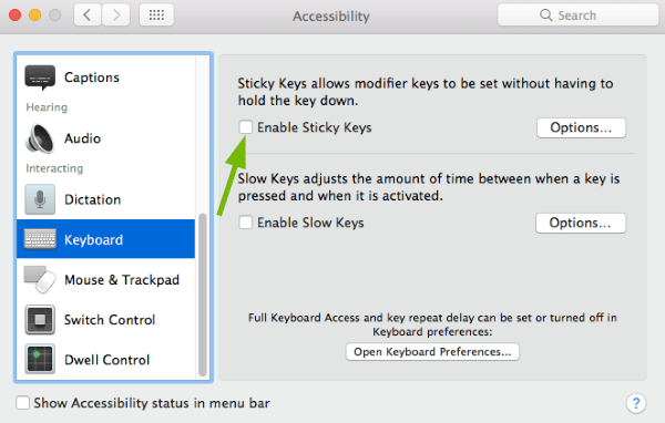 Enable Sticky Keys toggle box pointed out in Accessibility Preferences in macOS.