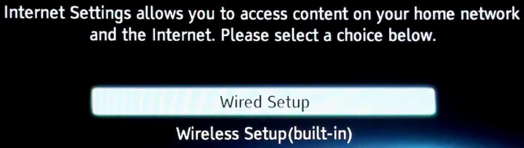 Network connection type selection screen