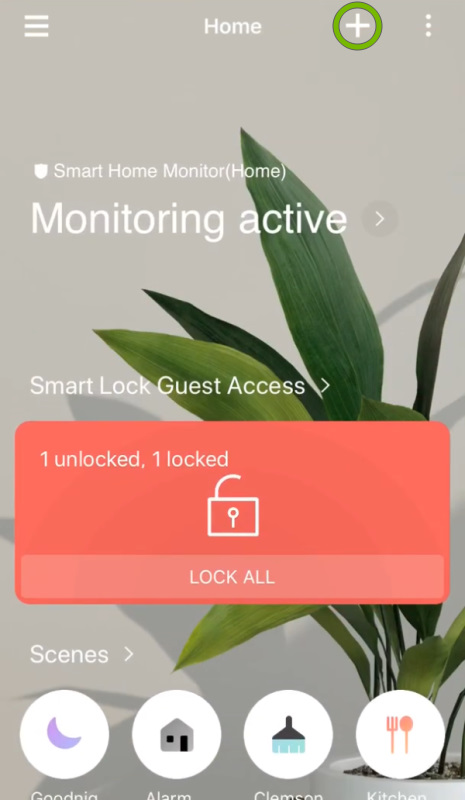 Plus sign highlighted on main screen of SmartThings app.