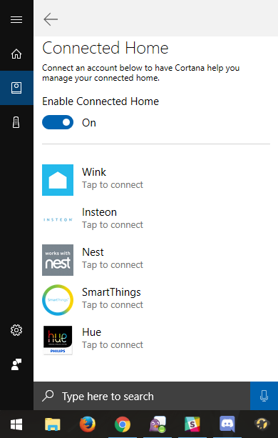 Smart home service providers listed in Cortana menu.