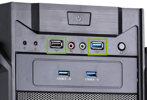 Stock photo of a desktop computer with the available USB ports highlighted.