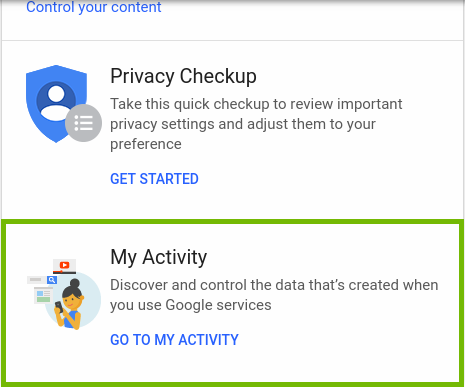 Google Accounts page highlighting the My activity link.