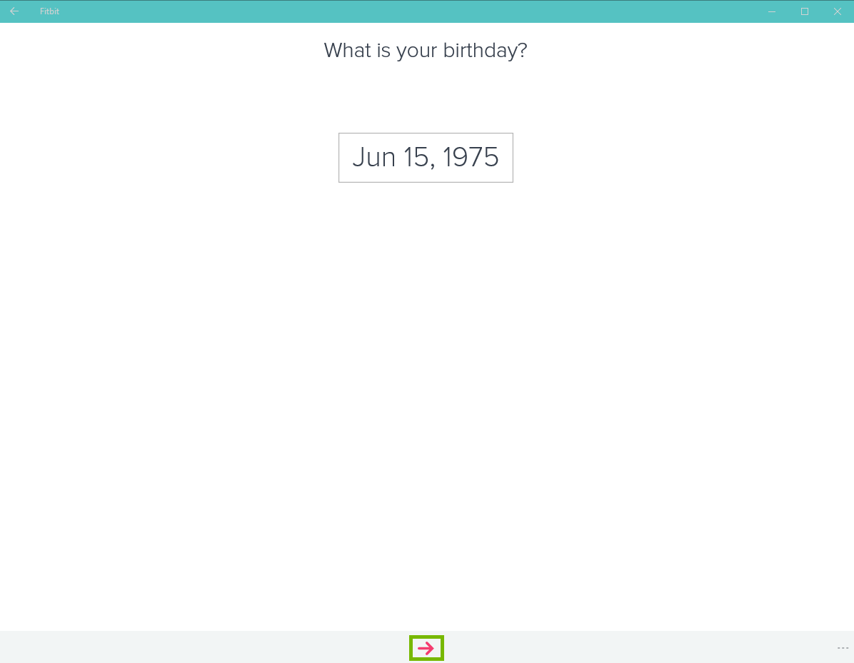 Fitbit app with birthday showing and arrow highlighted
