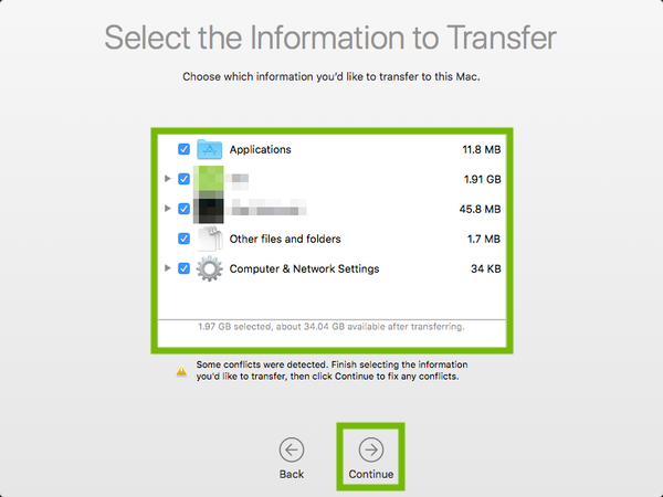 Migration Assistant Select Info to Transfer prompt with choices box and continue highlighted.