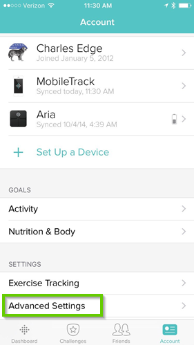 Fitbit app's advanced settings