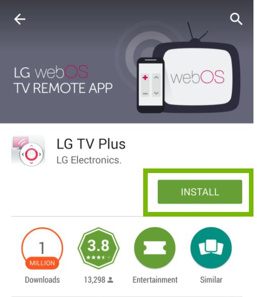 LG TV Plus app with Install button selected. Screenshot.