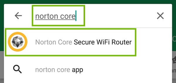 Norton Core search with Norton Core Secure WiFi Router app highlighted.