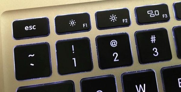 Mac Laptop Keyboard inset, showing brightness controls.